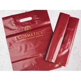 Пакет с ручками  из ПВД бордовый с печатью 300*400*80